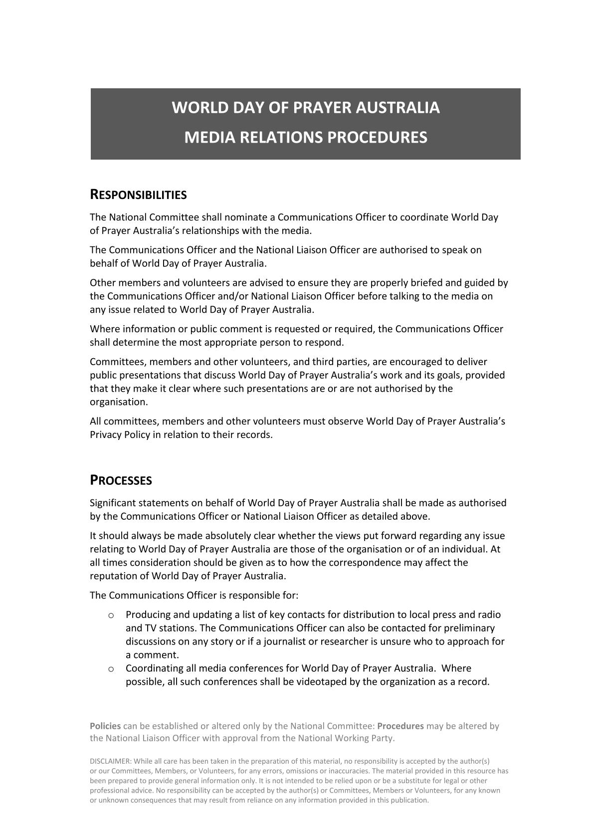 Media Relations Policies and Procedures