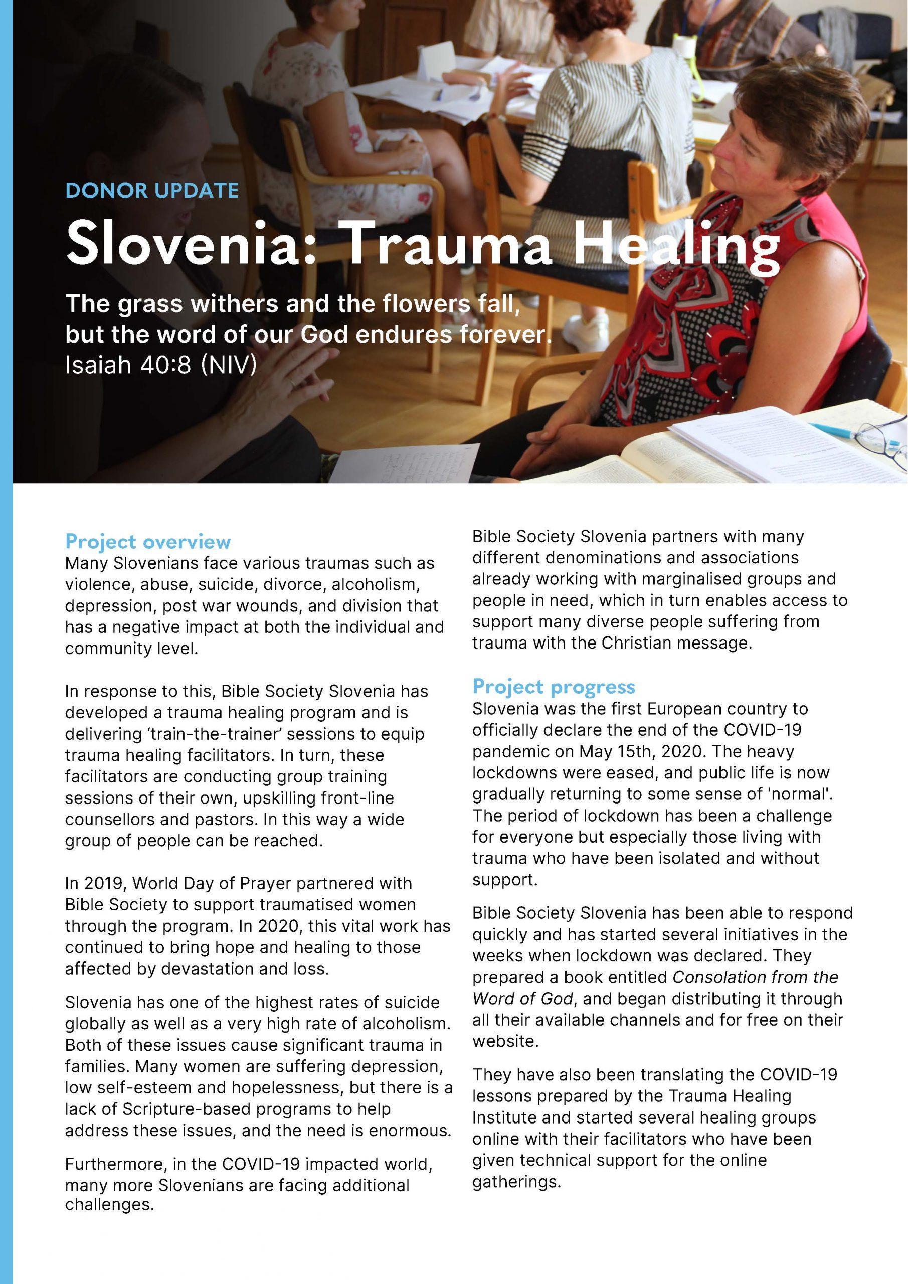 DONOR UPDATE Slovenia: Trauma Healing