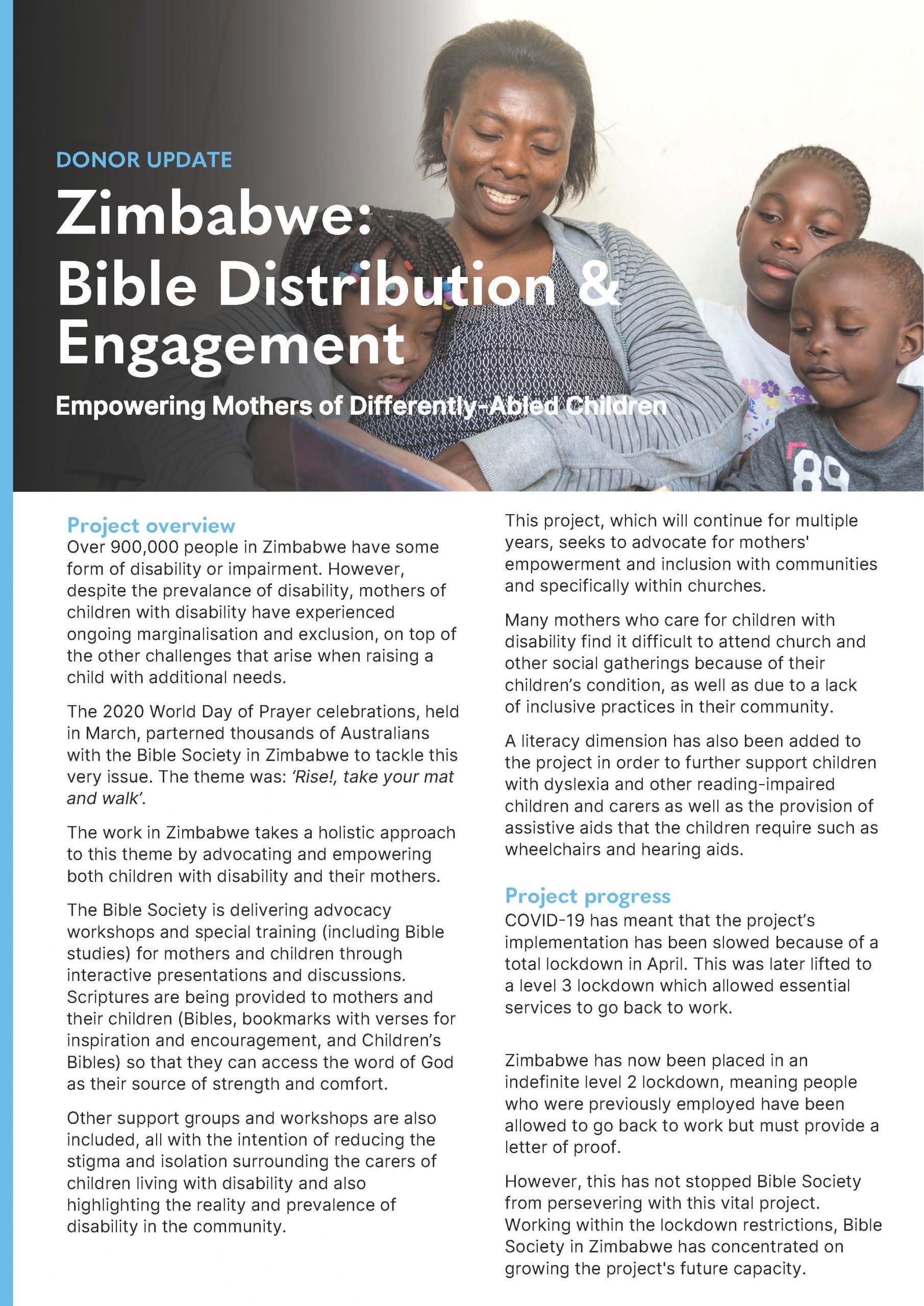 DONOR UPDATE Zimbabwe: Bible Distribution & Engagement